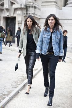 Vogue Paris Emmanuelle Alt and Geraldine Saglio Fashion Mode, Look Fashion, Trendy Fashion, Jeans Fashion, Fashion Outfits, Emmanuelle Alt Style, Street Chic, Street Style, Paris Street