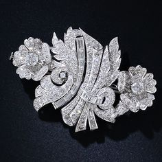 Art Deco Platinum and Diamond Floral Clips and Brooch