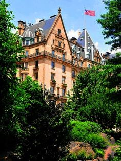 The Dakota, West 72nd St. & Central Park West - the oldest apartment building in NYC, as seen from Central Park. John Lennon lived here.