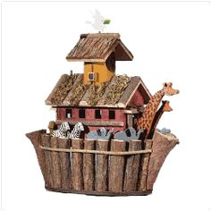Wood Noah Ark's Birdhouse - Two by two the animals go on this captivating, Noah's ark birdhouse. A fun home for the birds or a great display piece. Bird House Plans, Bird House Kits, Owl House, Noahs Arc, Decorative Bird Houses, Wood Bird, Bird Feeders, Bird Nests, Decoration