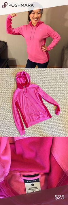 Nike pink workout sweatshirt with hoodie Super cute workout or running sweatshirt that's comfortable and stylish. Like new, worn twice. Nike Tops Sweatshirts & Hoodies