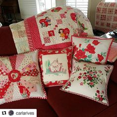 All so cute!#Repost @carlarives with @repostapp ・・・ Still haven't quite finished the binding on my pam kitty ❤quilt.  Made a couple of pillows using vintage tablecloth scraps. The cute house pillow was made by the incredibly talented Heather @vintagegreyhandmade . #valentinesday #vintagetablecloths