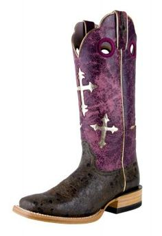 Womens Ariat Ranchero Boots Chocolate And Purple #10007682 via @Allens Boots