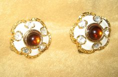 Vintage Gold and White Enamel Earrings with by DivineMissMDesigns