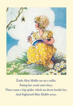 Little miss muffet 12x18 giclee on canvas