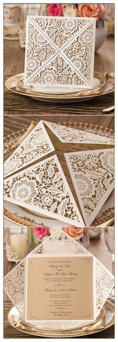 Elelgant Fall Burgundy And Gold Heart Laser Cut Pocket Wedding Invitations EWWS181