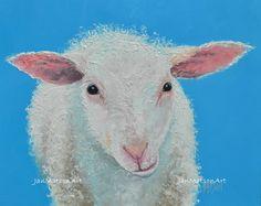 Sheep painting, Animal Paintings, Kids Painting, Etsy nursery art, farm animal, sheep art by Jan Matson