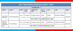 Fast Track Batch #Schedule #August 2014  #CAFINAL GR-I  Study #Corporate and #Allied #laws with CA Munish Bhandari  &  Study #Advanced #Auditing & #Professional #Ethics with CA Surbhi Bansal  For More Details   Visit : http://www.gaapbright.com/courses/chartered-accountancy/ca-final.html Contact us : 011-41404111,011-47665555