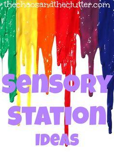 Sensory Station Ideas for the home http://goldenreflectionsblog.com/2014/07/teaching-practical-life-skills-in-your-homeschool-preschool.html