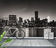 New York skyline sepia Tapet