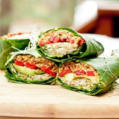 Raw Vegan Collard Wraps - large collard leaves - red bell pepper - avocado - alfalfa sprouts - lime - raw pecans - tamari - cumin or minced garlic and grated ginger - extra virgin olive oil