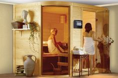 Sauna | Karibu Systeemsauna - Rondira 2 Basismodel Saunas, Models, Entryway, People, Room, Home Decor, Shopping, Europe, Steam Room