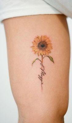 Sunflower Tattoo Shoulder, Sunflower Tattoo Small, Sunflower Tattoos, Small Quote Tattoos, Small Flower Tattoos, Small Girl Tattoos, Tattoos For Daughters, Sister Tattoos, Ankle Tattoo