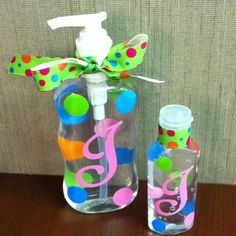 Fun gift idea...decorated liquid soap & hand sanitizer bottles