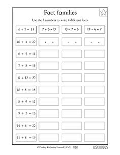 This math worksheet introduces your child to addition fact families and lets your child practice with sums up to 20.