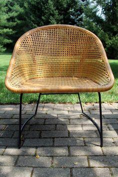 Mid Century Modern Arthur Umanoff Style Wicker Basket Chair Chair Obsession
