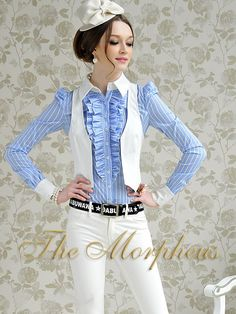 Morpheus Boutique  - Blue White Stripe Lovely Designer Ruffle Collar Long Sleeve Shirt, $59.99 (http://www.morpheusboutique.com/products/copy-of-red-plaid-lace-lovely-designer-lady-bow-ruffle-collar-cap-sleeve-shirt.html)