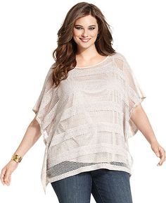 Style Plus Size Top, Batwing-Sleeve Striped Open-Knit - Plus Size Tops - Plus Sizes - Macy's