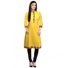 Refreshing Yellow Color Stitched Cotton Indian Designer Kurti At Best Price By Shopkio India Girls Kurti, Ethnic Kurti, Designer Kurtis Online, Dresses For Work, Summer Dresses, Indian, Yellow, Cotton, Stuff To Buy