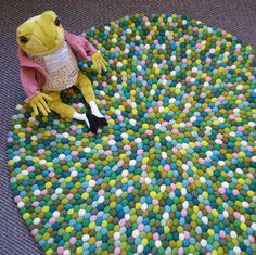 Felt ball rugs online in Australia - Forest Floor in 90cm felt ball rug