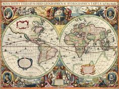 A decorative antique world map wallpaper by Henricus Hondius, issued in the 1630 edition of the Mercator-Hondius Atlas