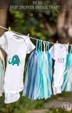 Shower Baby with a custom-made wardrobe! Your guests will love creating one-of-a-kind outfits with fabric pens and crisp white cotton onesies. Hang them to dry (and let everyone admire them!) with the enclosed twine and clothespins.