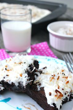 coconut frosted brownies.