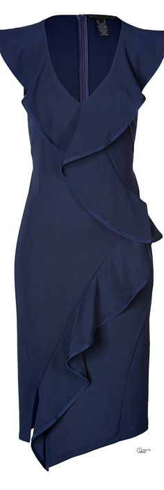 Donna Karan ● Blue Ruffled Sheath Dress