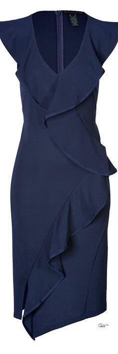 Donna Karan ● Blue Ruffled Sheath Dress