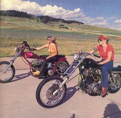 Seventies custom chopper riding dames.