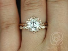 Ready to Ship Lily 7mm & Christie 14kt Rose Gold Cushion FB Moissanite and Diamond Kite Halo Wedding Set