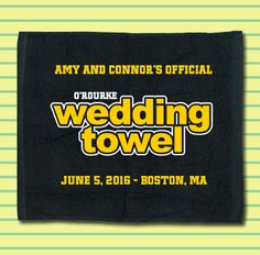 Boston Bruins fans love our 2-Color Official Wedding towels. Get a quote for your Hockey Themed Wedding today! #hockeywedding #stwdotcom