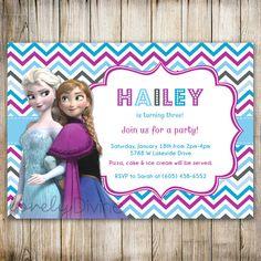 Disney FROZEN Chevron Birthday Invitation Frozen by LovelyDivine9, $12.00
