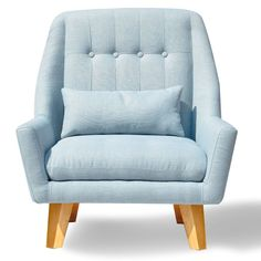 This single-seater sofa is made of ash wood and upholstered with a light blue linen weave material. With a unique style that can stand alone, the tufting, welting and buttons ensure many years of use.