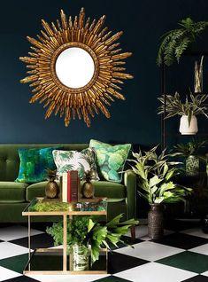 The Dutch Hospital Antique Gold Sun Mirror, Sunburst Mirror, Hollywood Regency Mirror, Starburst Mirror Estilo Hollywood Regency, Hollywood Regency Decor, Gold Sunburst Mirror, Sun Mirror, Home Interior, Decor Interior Design, Interior Decorating, Interior Livingroom, Furniture Design