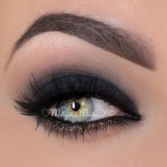 Matte Black Smokey Eye Makeup - Bronze Gold Shimmer Lower Lash Line - Lashes - Beautiful Blue and Yellow Eyes - Brows ❤