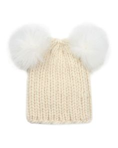 Mimi Knit Hat with Fur Pompoms, Cream by Eugenia Kim at Neiman Marcus.