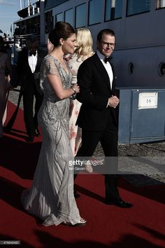 Crown Princess Victoria of Sweden and her husband Prince Daniel of Sweden arrive for the pre-wedding Dinner for Prince Carl Philip and Sofia Hellqvist on June 12, 2015 in Stockholm, Sweden.