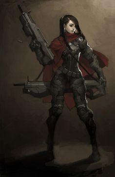 KIM BUM Lady warrior, cyberpunk, fantasy, illustration, graphic