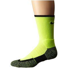 Nike Elite Tennis Crew (Volt/Black/Black) Crew Cut Socks (1980 RSD) ❤ liked on Polyvore featuring intimates, hosiery, socks, crew socks, moisture wicking socks, wicking socks, pocket socks and nike socks