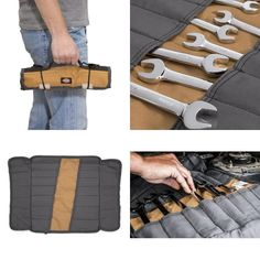 Mechanics Wrench Roll Up Bag Tools Organizer Carry Storage Portable Case Beige