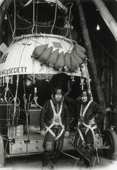 Orvil A. Anderson and Albert William Stevens with the Explorer II high-altitude balloon, 1935. The two balloonists set a record of 72,395 feet and won the Mackay Trophy, an achievement annually awarded by the United States Air Force for the most meritorious flight of the year.