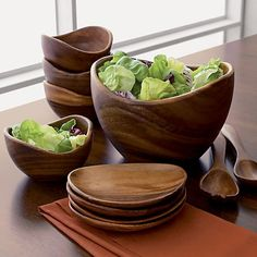 "3-Piece Acacia 10"" Salad Bowl and Acacia 12"" Salad Servers Set in Serving Bowls 