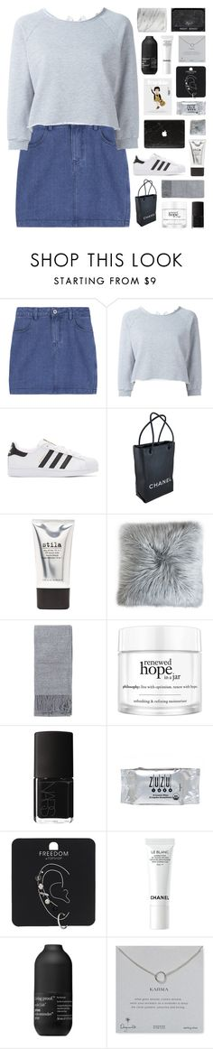 """""""•Life goes on, with or without you•"""" by tiaranurindaa ❤ liked on Polyvore featuring GaÃ«lle Bonheur, adidas Originals, Chanel, Stila, Topshop, philosophy, NARS Cosmetics, INC International Concepts, Living Proof and Dogeared"""