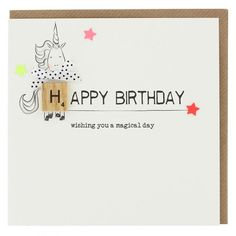 A cute birthday card featuring a unicorn illustration embellished with a tile letter piece and gems. Blank inside for your own message, it's printed on linen textured board and comes with a kraft envelope. Measures (approx) and is suitable f Cute Birthday Cards, Birthday Wishes, Texture Board, Unicorn Illustration, Unicorn Gifts, Paperchase, Milestone Birthdays, Kraft Envelopes, Greeting Cards