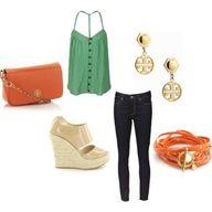 Sea green and light orange <3