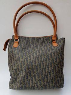 ad39a84f9055 DIOR Christian Dior Vintage Grey and Tan   Brown Monogrammed Shoulder Tote  Bag. French designer purse