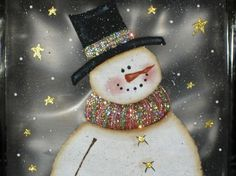 Painted Glass Blocks | Glass Block Lighted Snowman Holiday Light by PaintingByElaine