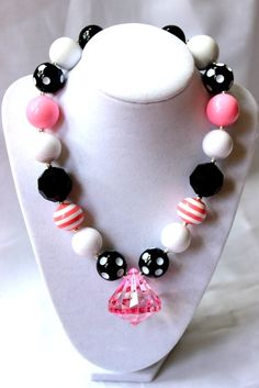 etsy bubblegum necklace for girls | girls chunky bubblegum bead necklace pink by ... | Little Girl Bling