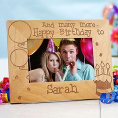 """And Many More Personalized Birthday Picture Frames. Personalized Birthday Wood Photo Frame - Engraved Birthday Picture Frame. Give an attractive Personalized Birthday Photo Frame as a wonderful Personalized Birthday Gift for a close family member or best friend. Our Personalized Birthday Wood Picture Frame measures 8¾""""x 6¾"""" and holds a 3½"""" x 5"""" or 4"""" x 6"""" photo. Easel back allows for desk display. Includes FREE Personalization!"""